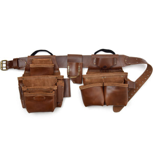 Style n Craft's 98444 - 4 Piece 19 Pocket Pro Framer's Combo in Top Grain Leather in Dark Tan Color