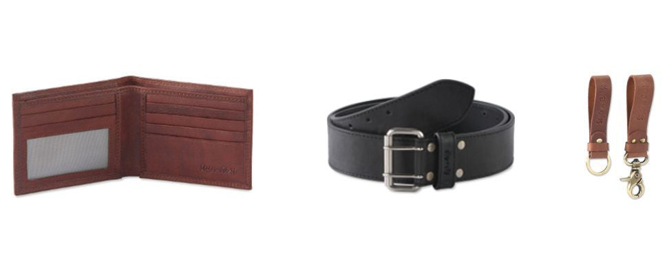 Style n Craft leather wallet, leather work belt and leather snap loop & key ring combination