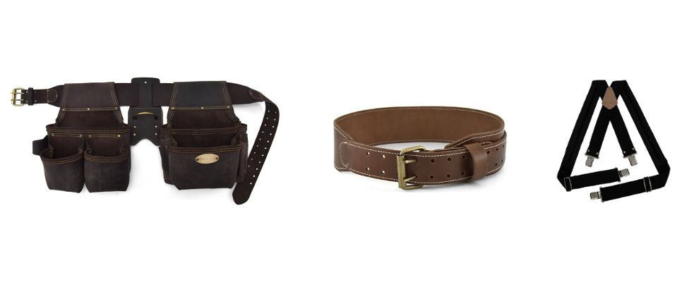 Style n Craft framer's combo in top grain oiled leather, work belt in top grain leather and padded suspenders