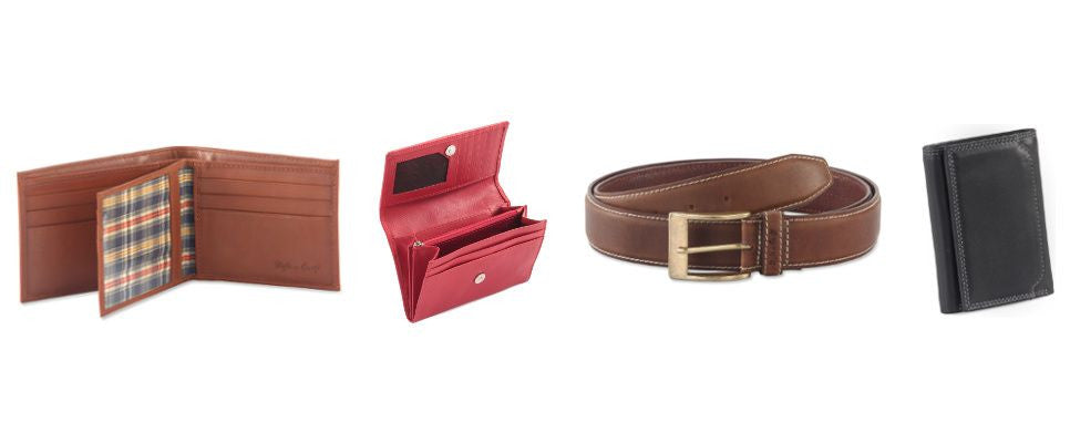 Style n Craft leather wallet, ladies clutch wallet in leather, leather belt and trifold leather wallet