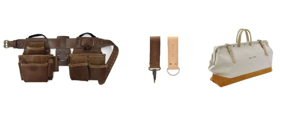 Style n Craft framer's combo in top grain leather, snap loop & D-ring combo in leather and mason's tool bag in canvas & leather combination