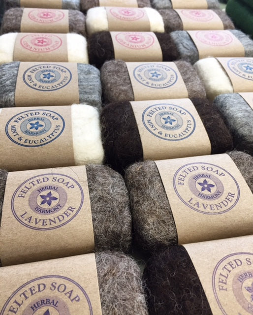 Patchouli Felted Soap - Natural Wool