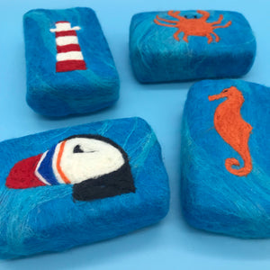 Sea Inspired Felted Soaps