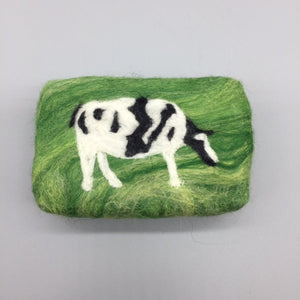 Friesian Cow Felted Soap