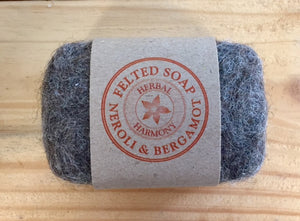 Neroli & Bergamot Felted soap - Natural Wool