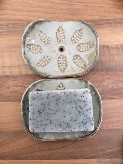 Ceramic Soap Dish - Rustic Green Leaf imprint