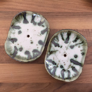 Ceramic Soap Dish - Green Splash