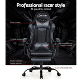 Artiss Office Chair Gaming Chair Computer Chairs Recliner PU Leather Seat Armrest Footrest Black Grey