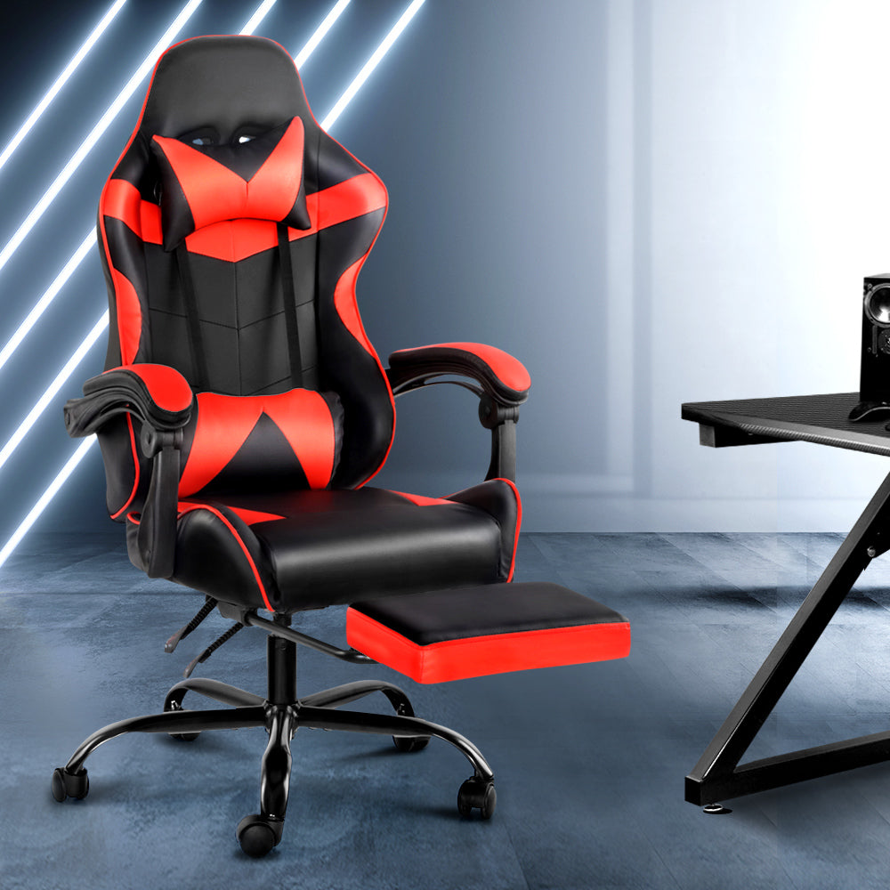 Artiss Gaming Office Chairs Computer Seating Racing Recliner Footrest Black Red