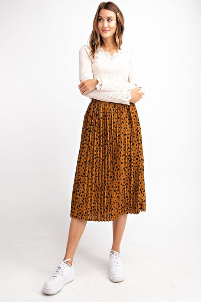 Leopard Pleated Midi Skirt Camel