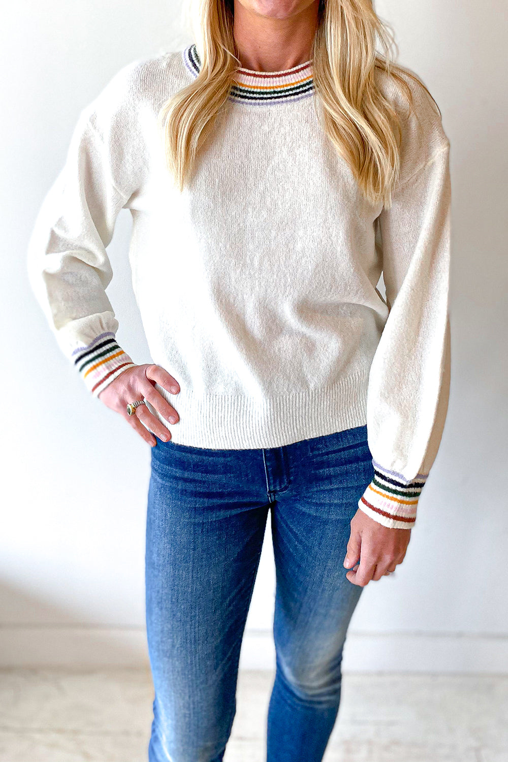Stripe Cuffs Cream Sweater