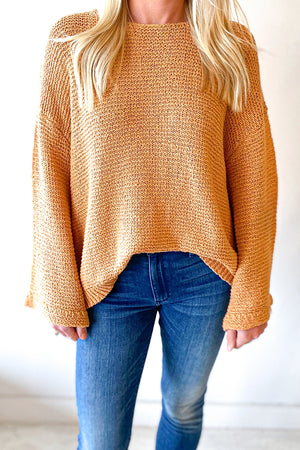Coral Gold Sleeved Top
