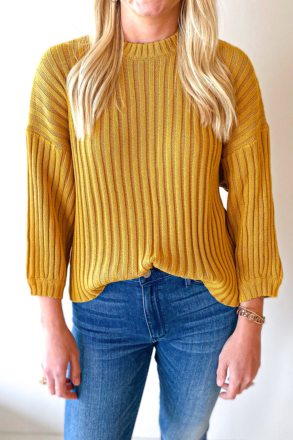 Ethan Sweater Top Mustard