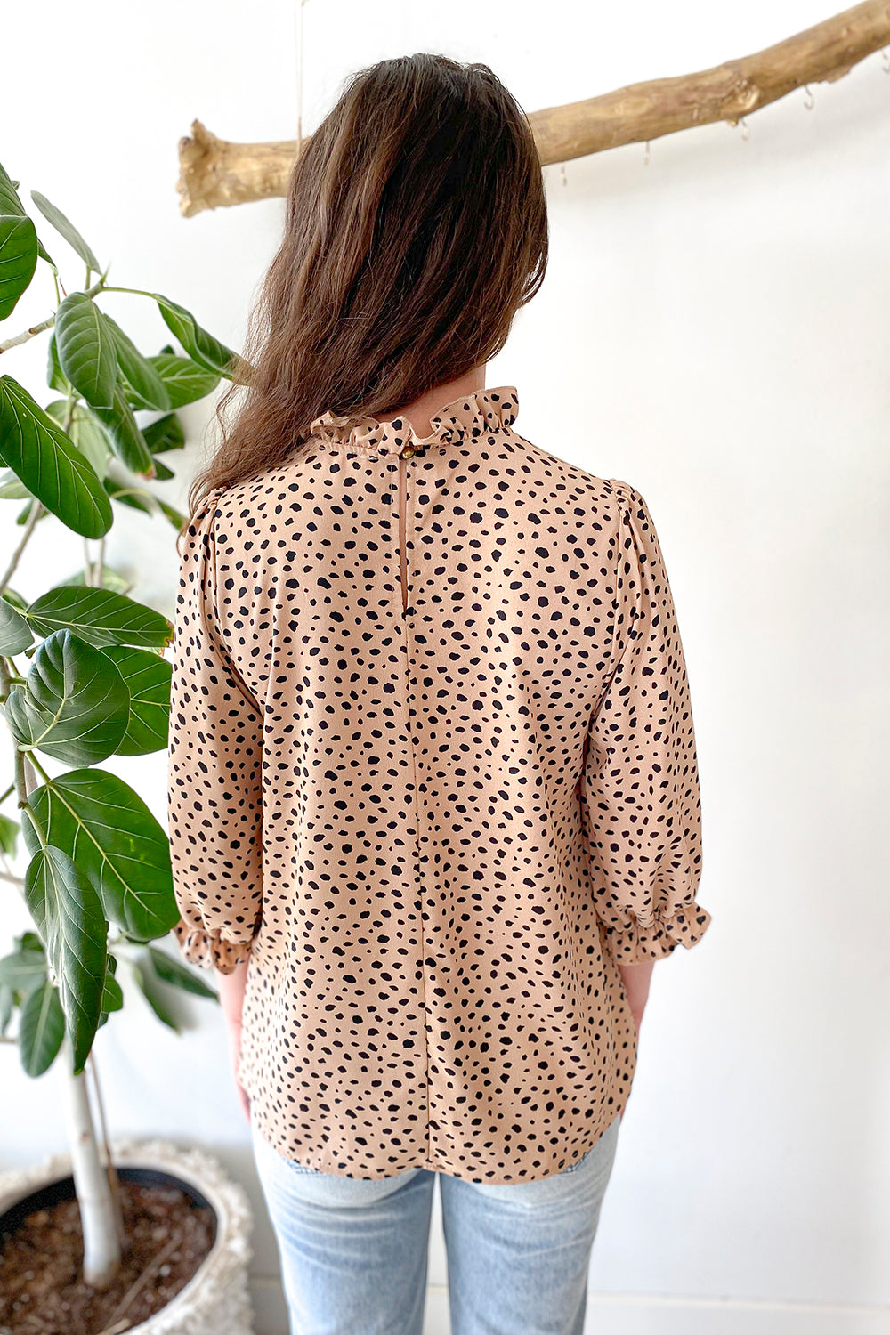 Paityn Animal Print High Neck Blouse