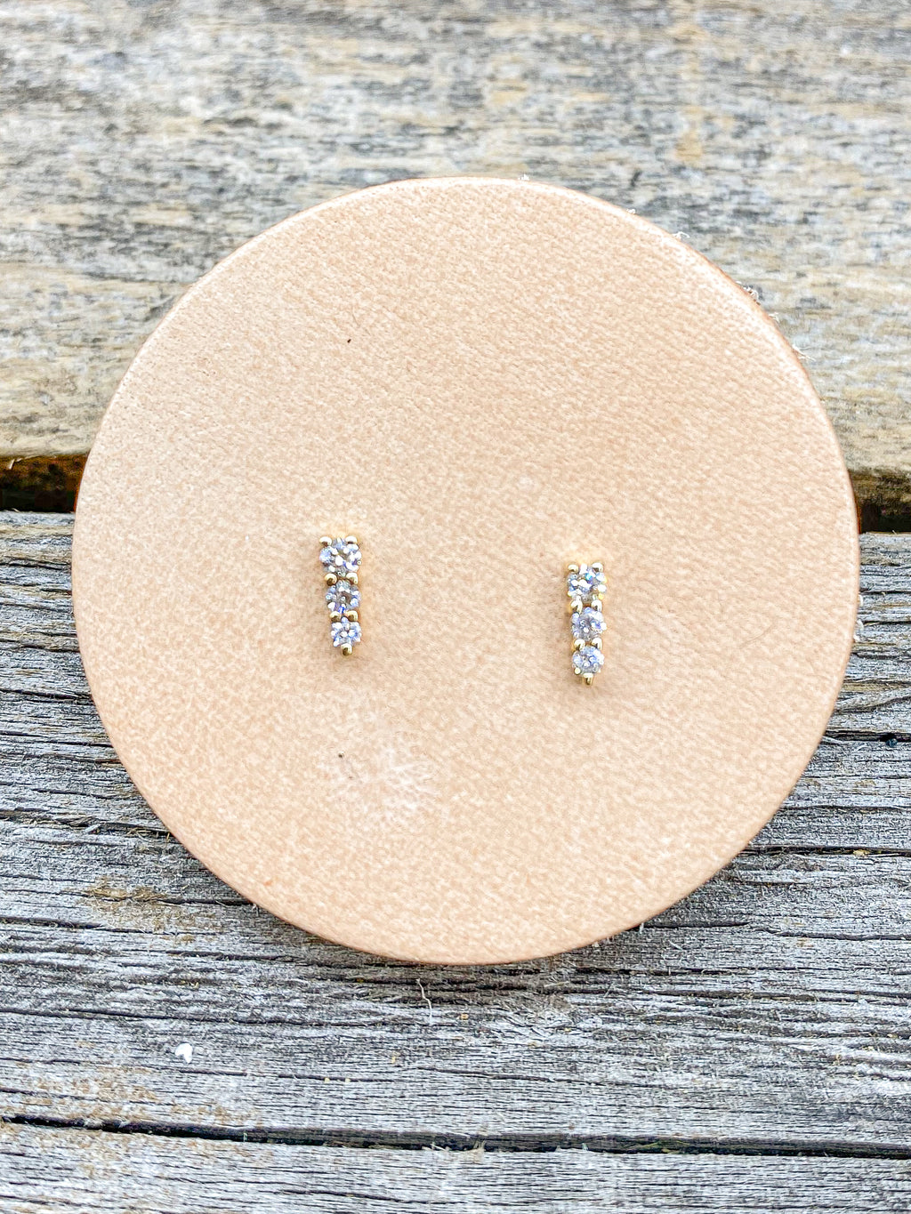 14K Tier Diamond Bar Studs