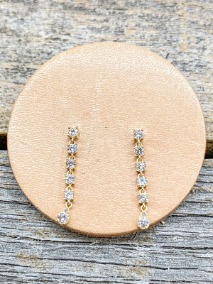 14k Drop Diamond Studs