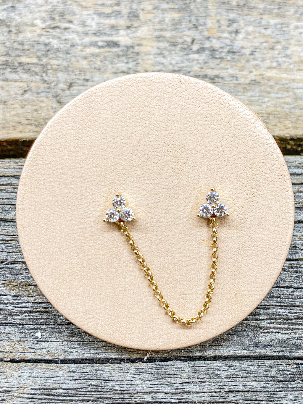 14K 3 Diamond Double Stud Chain Single