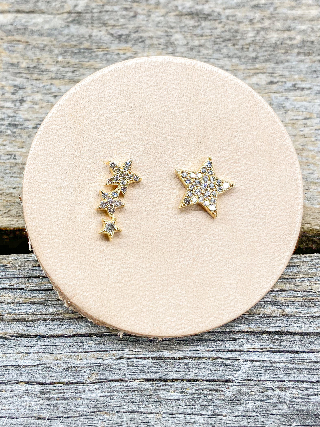14K Mix Star Diamond Studs