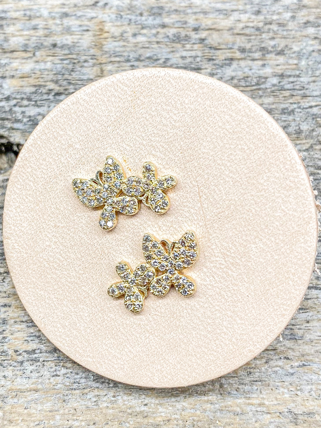 14K Diamond Butterfly Duo Studs