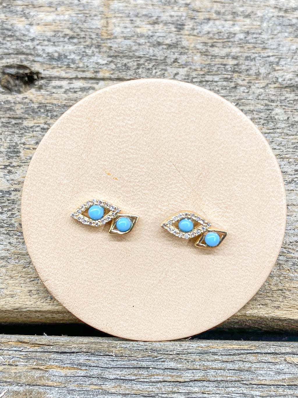 14K Double Turquoise Evil Eye Studs