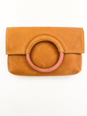 Fozi Two Tone Ring Tote Cognac Rose