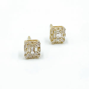 14k Baguette Square Studs Yellow Gold