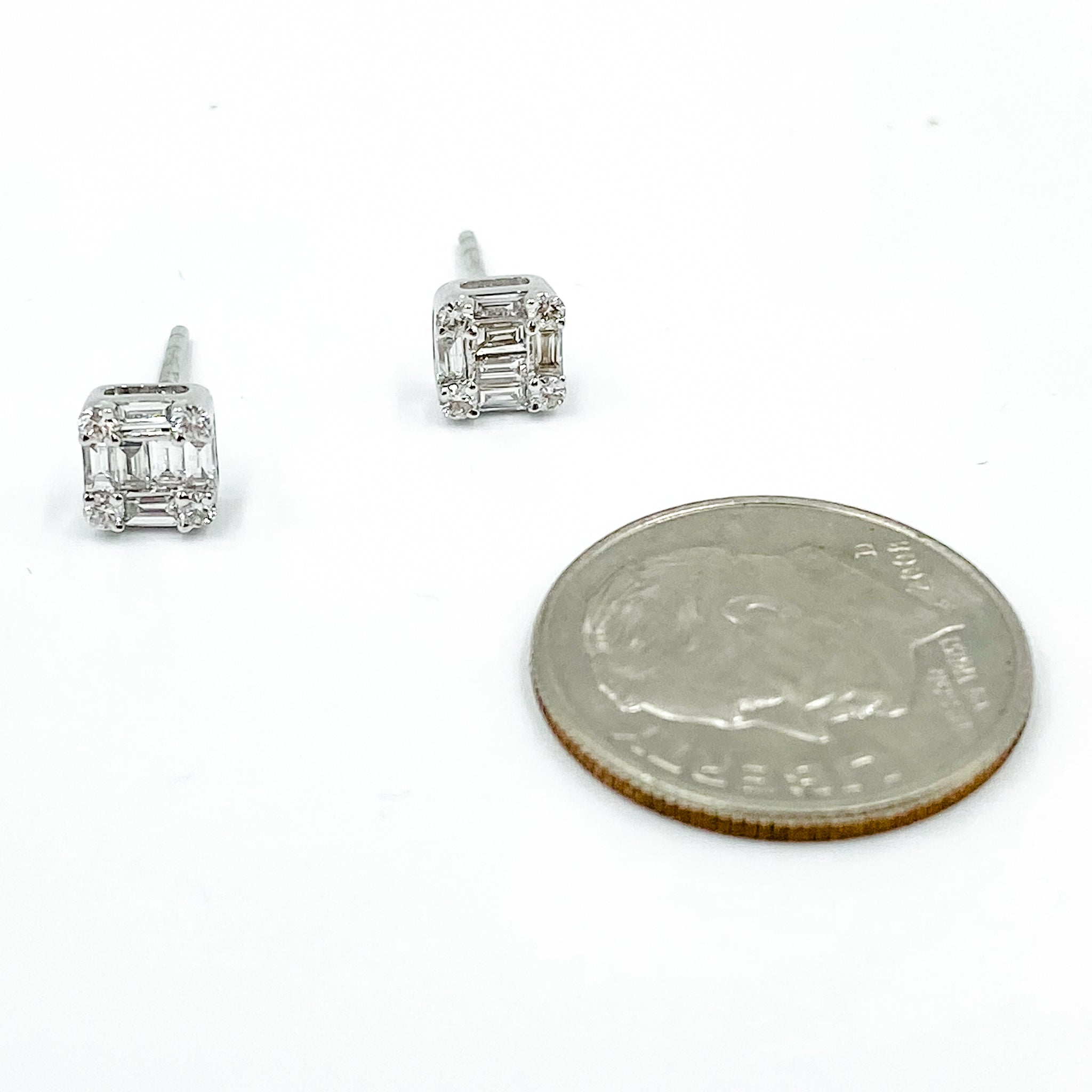 14k Baguette Square Studs White Gold