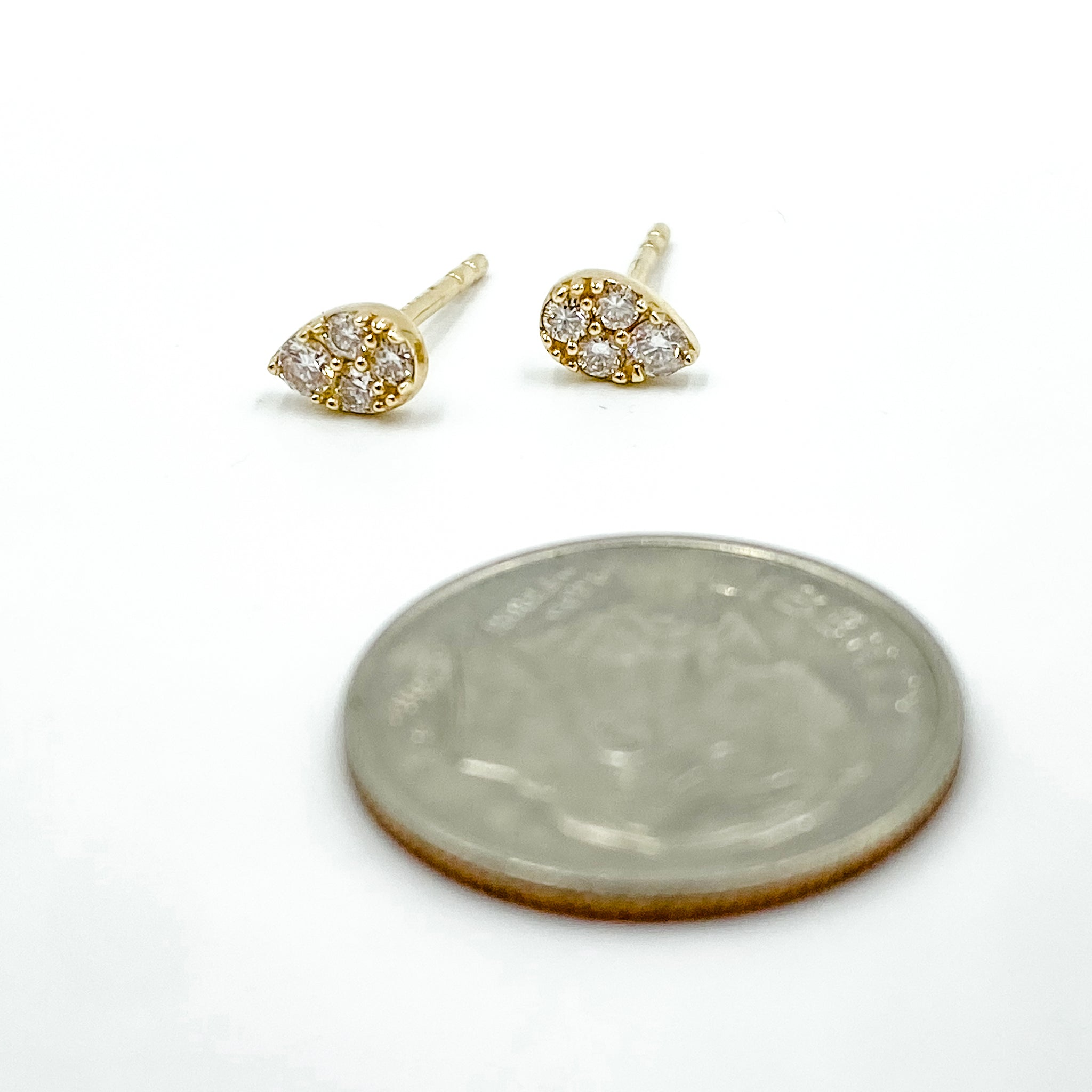 14K Pave Pear Studs