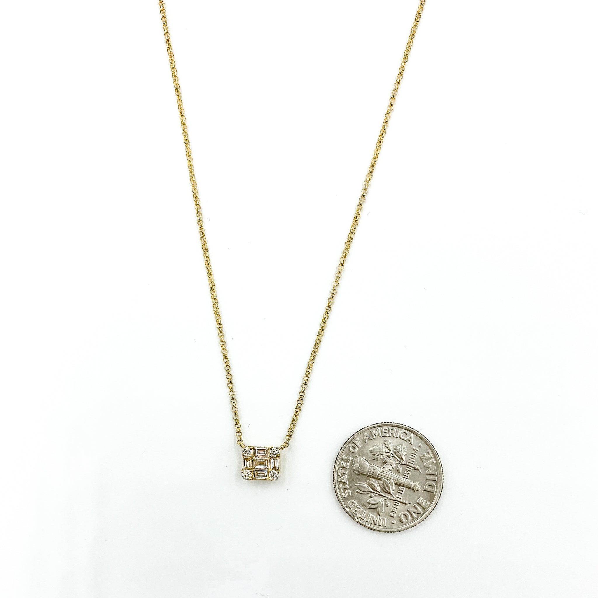 14K Baguette Block Necklace