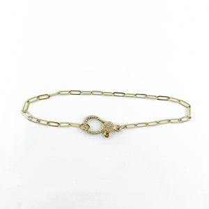 14k Chain and Diamond Clasp Bracelet