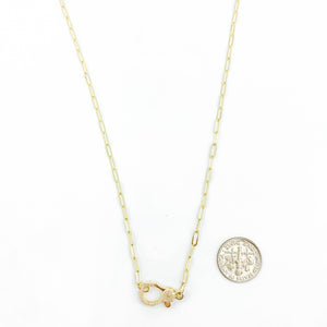 14k Chain and Diamond Clasp Necklace