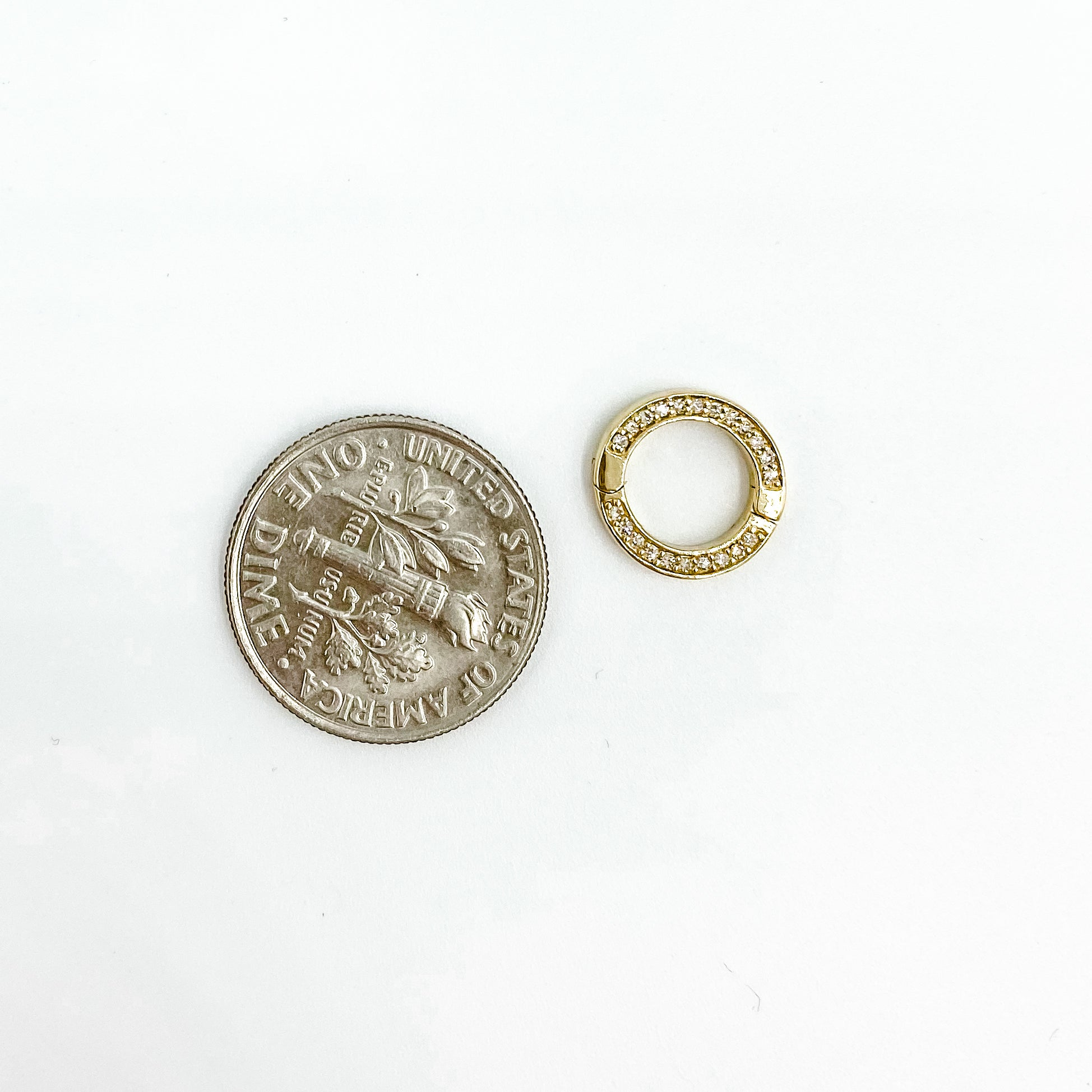 14k Diamond Mini Circle Fastener Yellow Gold