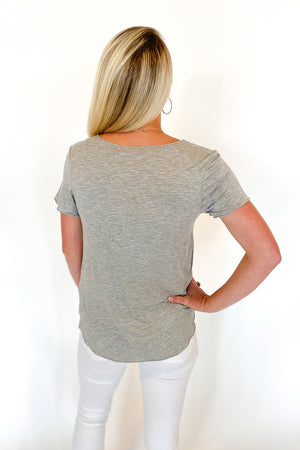Basic Babe Striped Tee Heather Grey