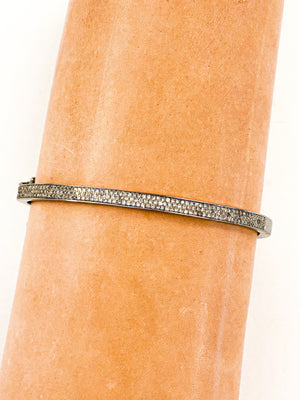 Sterling Silver Triple Pave Diamond Bracelet