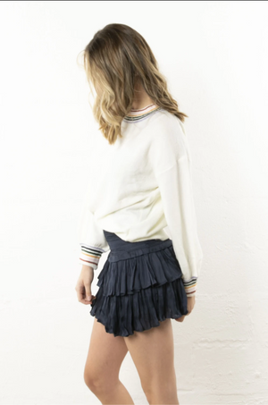 Puckered Navy Mini Skirt