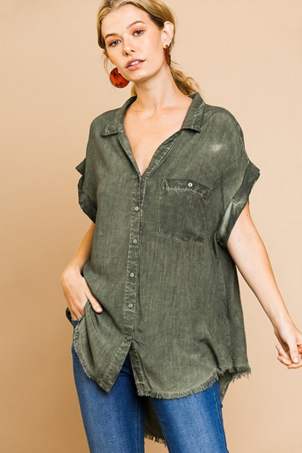Army Frayed Button Up