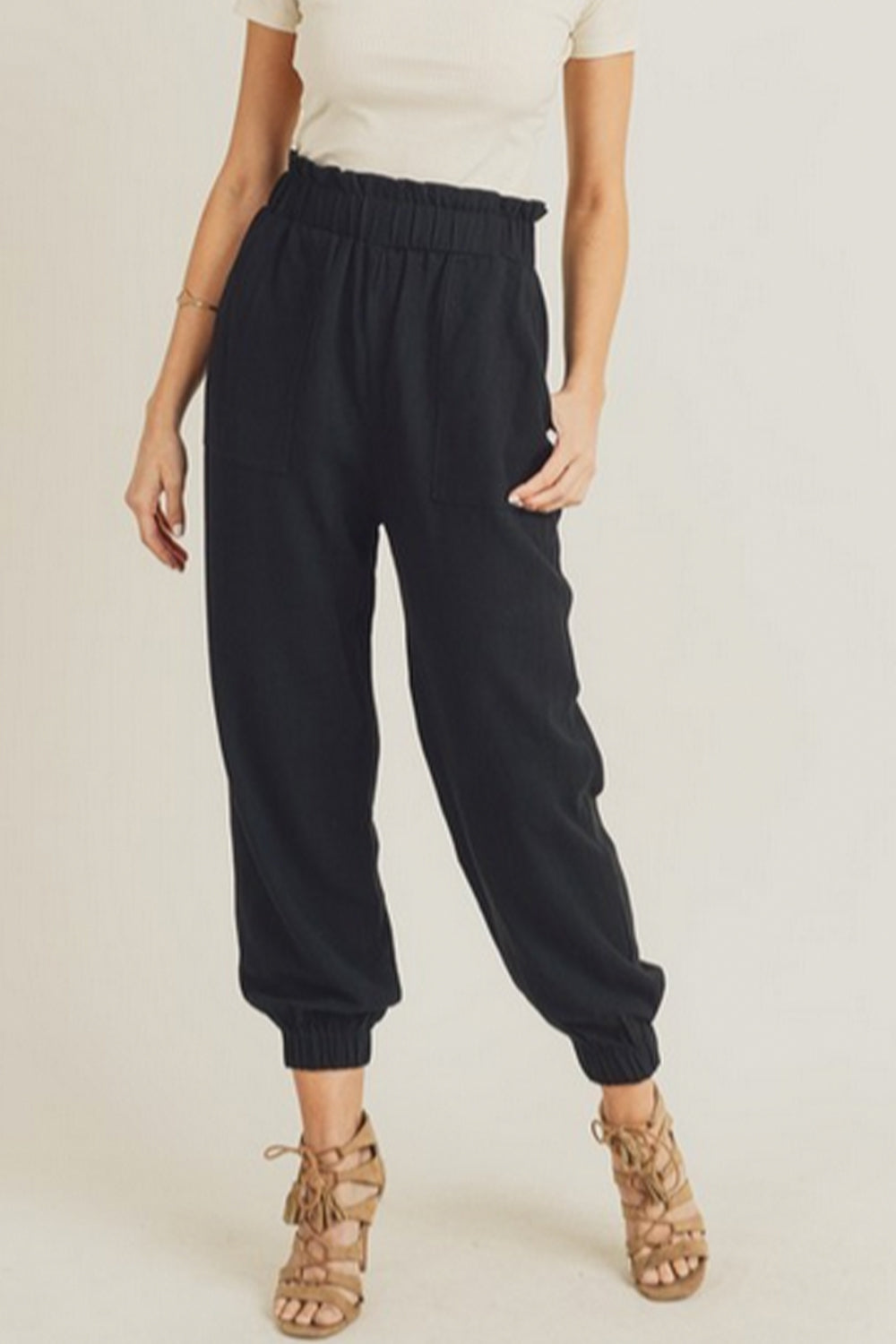 Paper Bag Jogger Pants Black