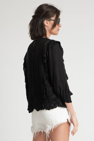Antonio Ruffle Detail Top Black