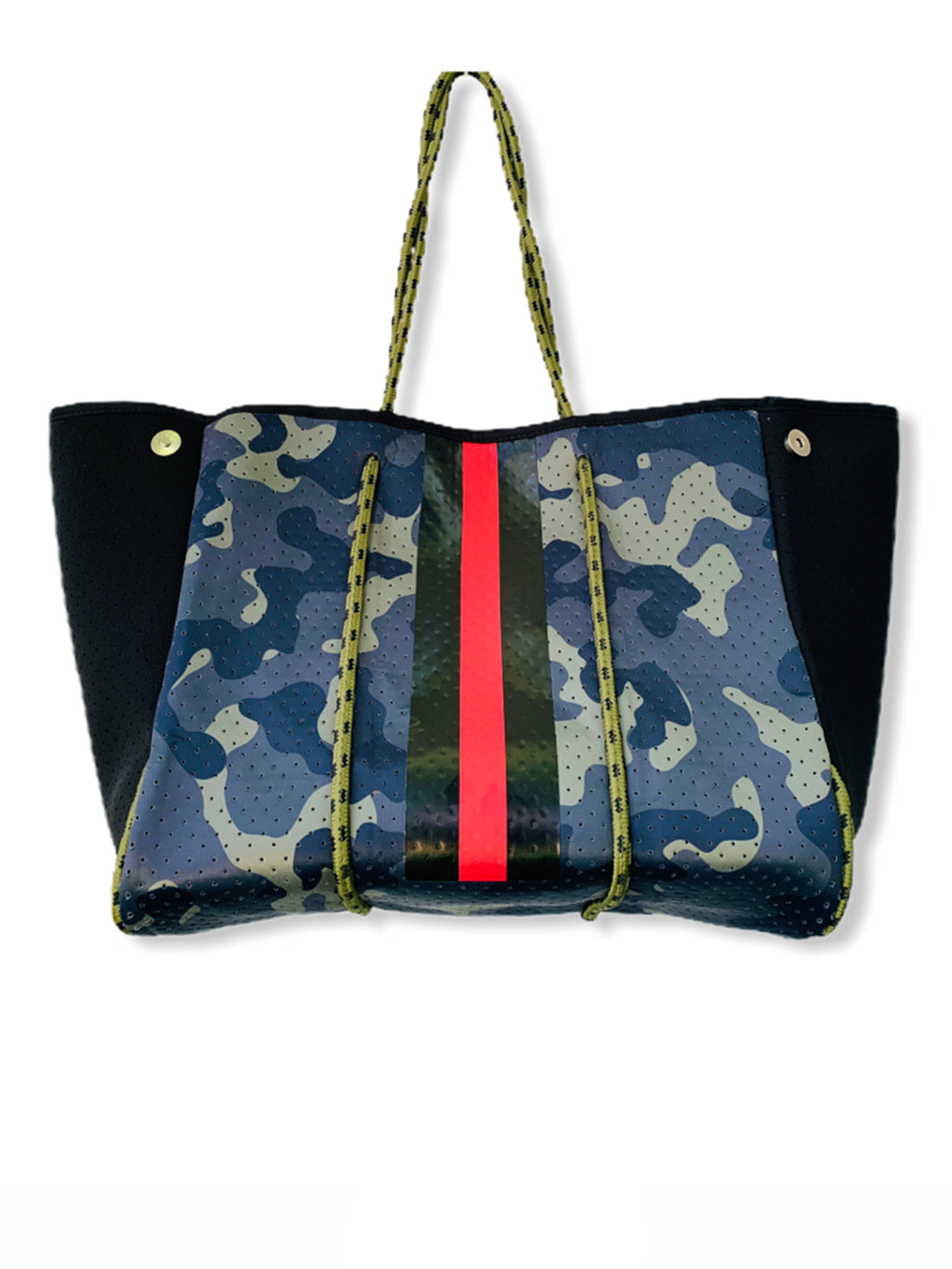 Neoprene Tote Bag Dark Camo Red Stripe