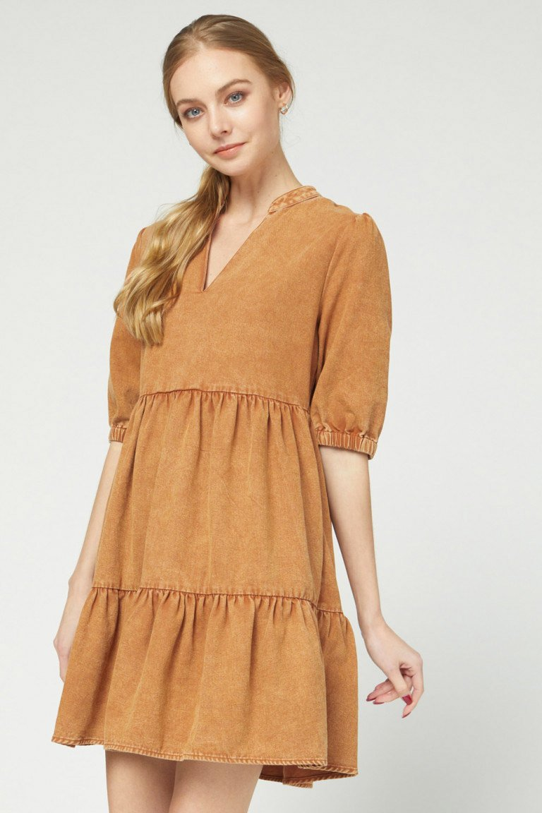 Caramel Ruffle Mini Dress