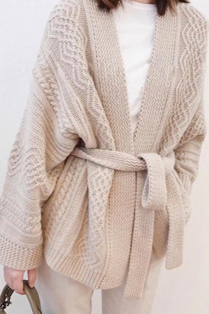 Liam Knitted Tie Cardigan Blush
