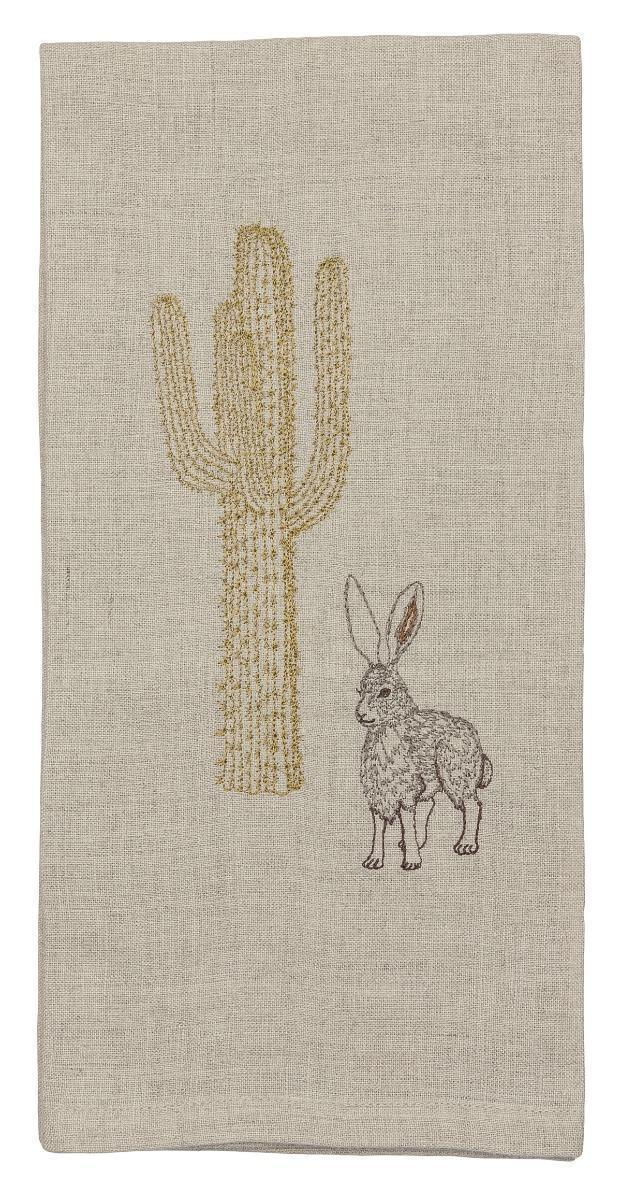 Jackrabbit and Saguaro Teatowel