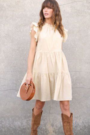 Connie Tiered Ruffle Dress Taupe