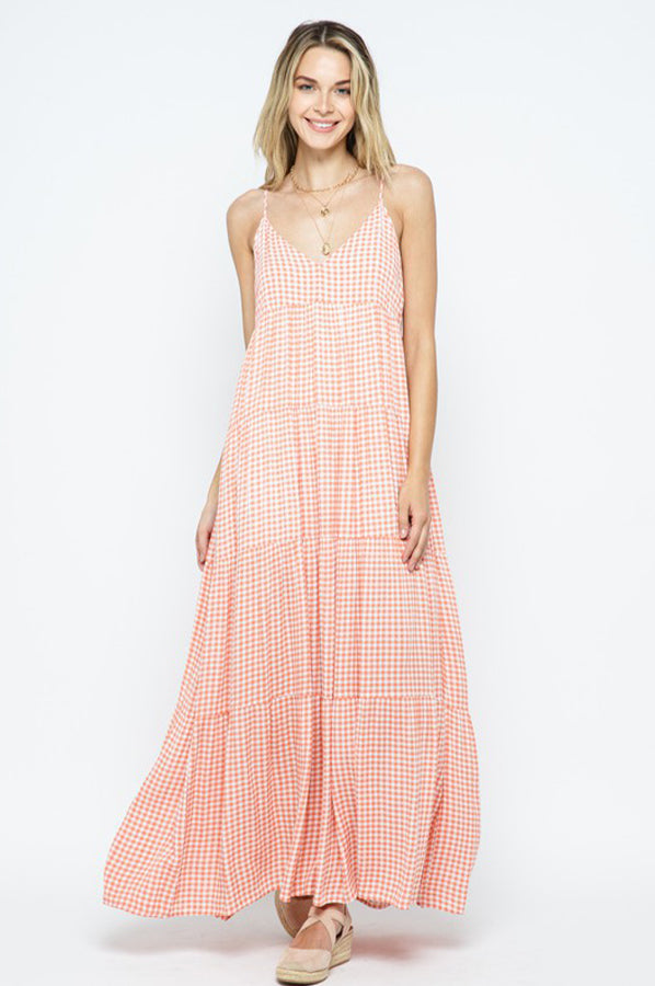 Patsy Plaid Dress Coral