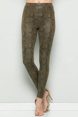Snake Skin Leggings Olive