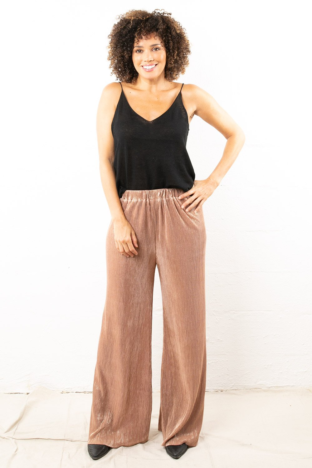 Metallic Wide Pants Gold Bronze