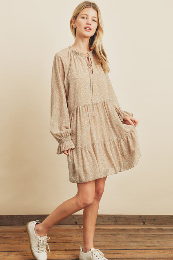 Rosalee Tiered Dress Sage Blush