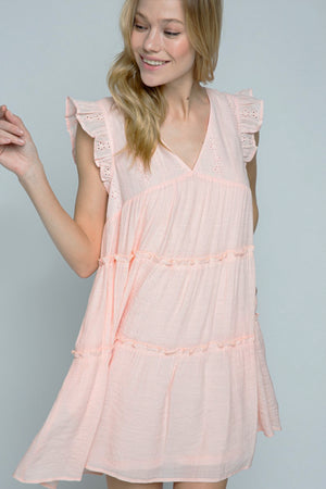 Eyelet Lace Tier Dress Cream Blush