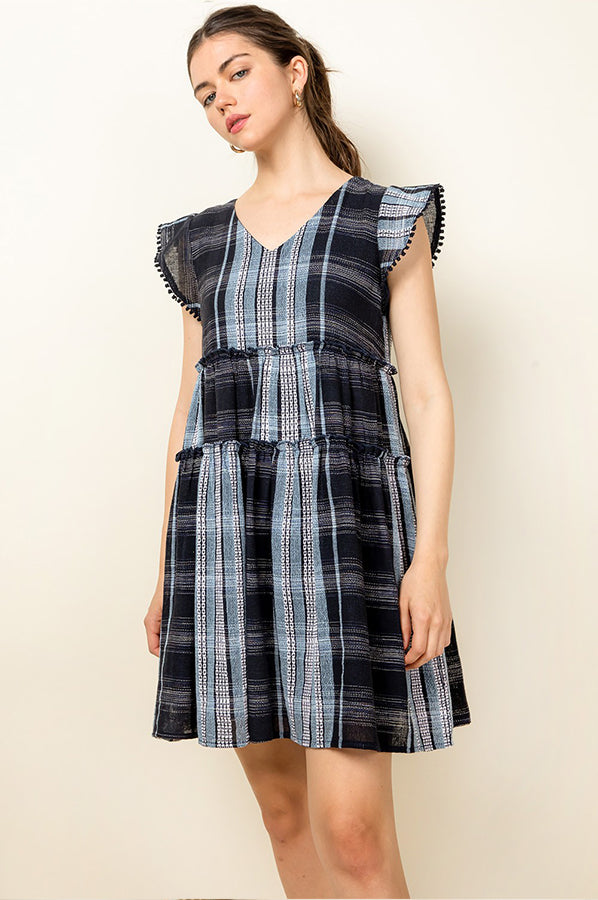 Mia Patchwork Plaid Dress Navy