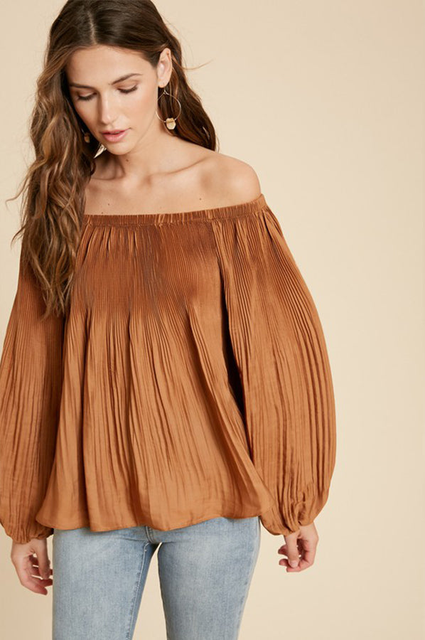 Tallie Pleated Off Shoulder Top